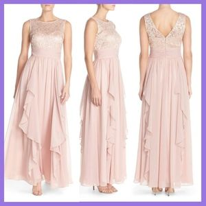 NWT $218 Eliza J Sequin Lace & Chiffon Gown in 14